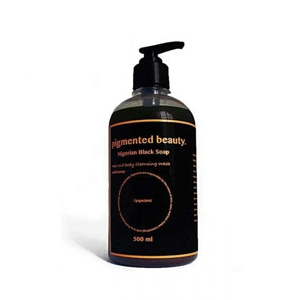 Pigmented Beauty Nigerian Black Soap Hair & Body Cleansing Wash 500ml-0