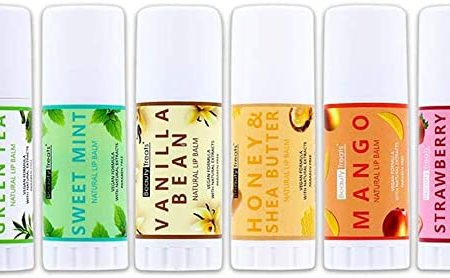 Beauty Treats Natural Lip Balm- Honey & Shea Butter, Sweet Mint, Mango, Vanilla Bean, Matcha Green Tea, Strawberry